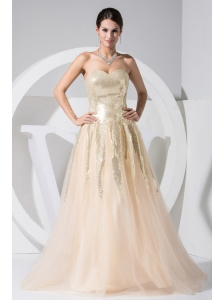 Sequin Decorate Bodice Tulle Champagne Floor-length 2013 Prom Dress