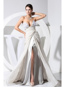 Sexy Prom Dress High Slit Hand Made Flowers Chiffon Grey V-neck
