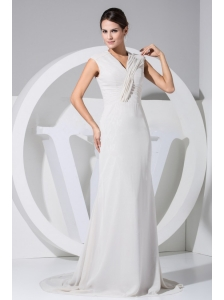 Simple Grey Chiffon Brush Train V-neck 2013 Mother Of The Bride Dress