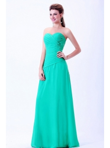 Turquoise Sweetheart Bridemaid Dress With Ruching Chiffon