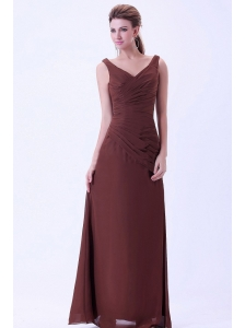 V-neck Chiffon Brown Mother Of The Bride Dress Floor-length