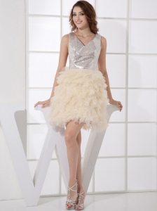 V-neck Silver and Champagne Sequin and Organza Mini-length Ruffles 2013 Prom Dress