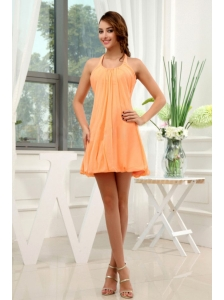 A-Line Halter Chiffon Mini-length Homecoming Prom Dress Orange