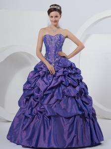 A-Line Sweetheart Embroidery Taffeta Floor-length  Quinceanera Dress Purple