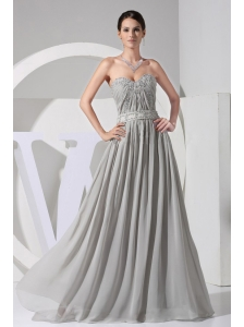 Appliques With Beading Decorate Bodice Grey Chiffon Floor-length Sweetheart Neckline 2013 Prom Dress