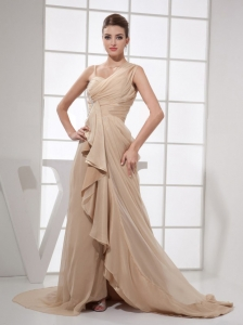 Asymmetrical Champagne Chiffon Brush Train Prom Dress 2013