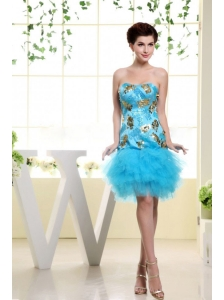 Baby Blue Appliques and Ruffles For Prom Dress With Mini-length