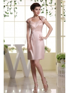 Baby Pink Prom Dress With Spaghetti Straps and Ruch Mini-length