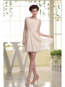 Bateau Belt and Champagne For Prom Dress With Mini-length