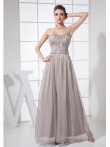 Beading Decorate Bodice Sweetheart Neckline Ankle-length Grey Chiffon 2013 Prom Dress