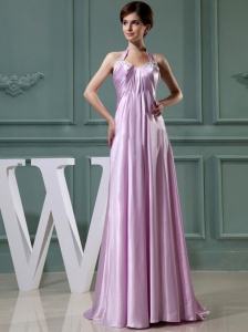 Beading Halter Empire Elastic Woven Satin Floor-length Prom Dress Lavender