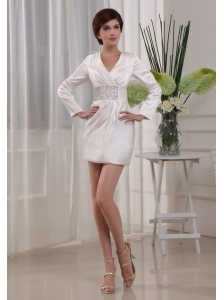 Beading Simple Column V-neck Elastic Woven Satin Mini-length Mother Of The Bride Dress White
