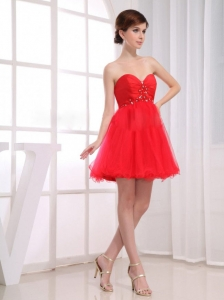 Beading Sweetheart Tulle Mini-length A-Line Red Prom Dress