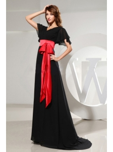 Black Mother Of The Bride Dress With Sash Short Sleeves and Brush Train