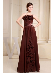Brown Prom Dress With Straps Hand Made Flowers and Beading