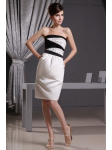 Column Beading and Knee-length Taffeta For Prom Dress