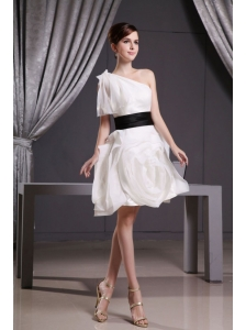 Custom Made Short Wedding Dress With Belt Mini-length One Shoulder