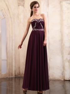 Dark Purple Prom Dress With Beaded Ankle-length Chiffon Sweetheart