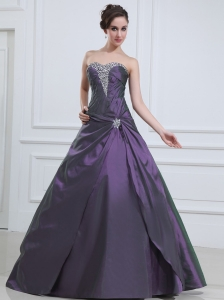 Dark Purple Quinceanera Dress With Beaded Sweetheart A-line Taffeta