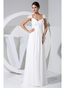 Elegant Beading Decorate Cap Sleeves V-neck White Chiffon Watteau Train 2013 Wedding Dress