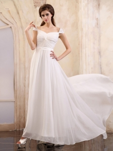 Empire Square 2013 Wedding Dress With Cap Sleeves and Brush Train Chiffon