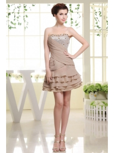 Grey Prom Dress With Beading and Ruffled Layers