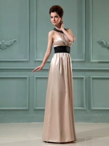 Halter Column Elastic Woven Satin Floor-length Prom Dress Champagne