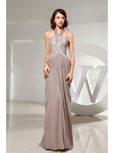 Halter Empire Beading Grey Chiffon Modest Prom Dress