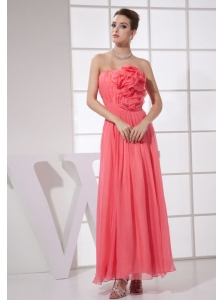 Hand Made Flower Watermelon Red Chiffon Ankle-length 2013 Prom Dress