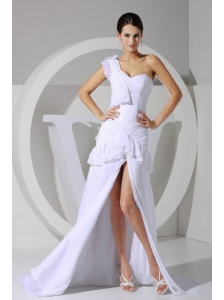 High-low One Shoulder White Chiffon Brush Train 2013 Prom Dress