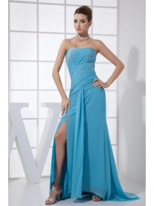 High Slit Beading Strapless Brush Train Blue Chiffon 2013 Prom Dress