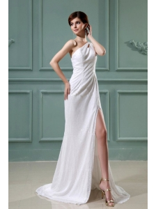 High Slit One Shoulder Empire Chiffon Brush / Sweep Prom Dress