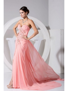 High Slit Pink Chiffon Sweetheart Beading and Ruch Brush Train 2013 Prom Dress