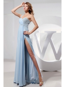 Light Blue One Shoulder and High Slit Prom Dress With Beading