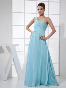 light Blue One Shoulder Beading and Ruch Empire Floor-length 2013 Prom Dress