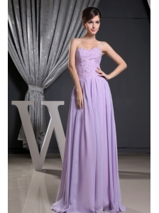 Lilac Sweetheart and Beaded Decorate Bodice For Prom Dress