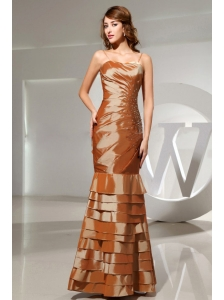 Mermaid Beading Taffeta Floor-length Spaghetti Straps Brown Prom Dress