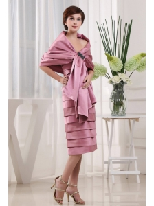 Modest Pink Mother Of The Bride Dress Ruffled Layers With Tea-length