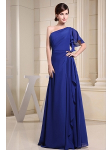 One Shoulder Blue For Prom Dress With Short Sleeve