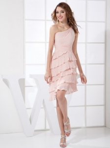 One Shoulder Pleat and Hand Made Flower Decorate Bodice Knee-length Light Pink Chiffon 2013 Prom Dress