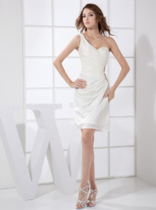 One Shoulder White Chiffon Mini-length 2013 Prom / Cocktail Dress