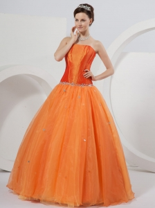 Orange A-line Strapless Floor-length Organza Beading Quinceanera Dress