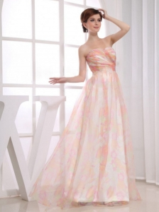 Print and Organza Strapless Floor-length A-Line Multi-color Prom Dress