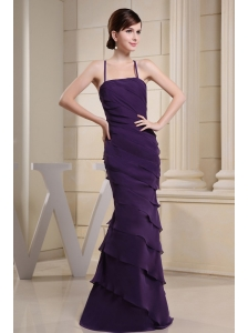 Prom Dress With Colulm Purple and Ruffers For Custom Made