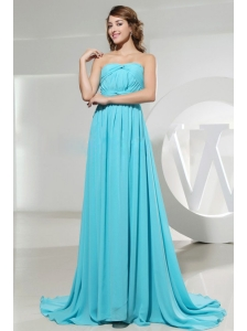 Strapless and Ruch For Elegant Blue Prom Dress With Brush Train