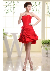 Strapless Red and Hand Made Flower For Prom Dress With Pick-ups