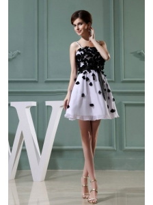 Straps Appliques A-Line Chiffon Mini-length Cocktail White Prom Dress