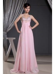 Straps Baby Pink and Beaded Decorate Bust For Prom Dress