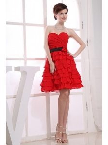 Sweetheart A-Line Ruffles Chiffon Knee-length Prom Dress Red