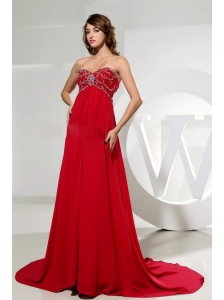 Sweetheart and Beading For Custom Made Red Prom Dress